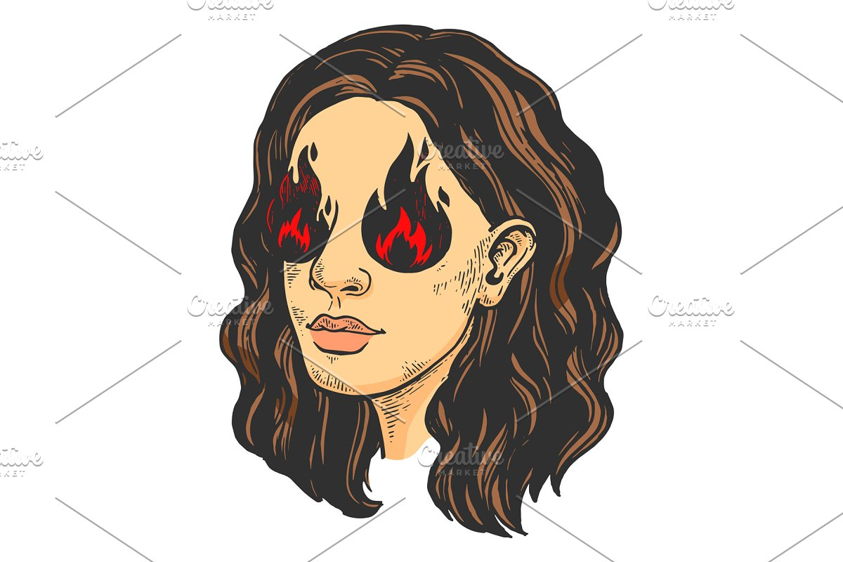 Woman with eye fire color sketch