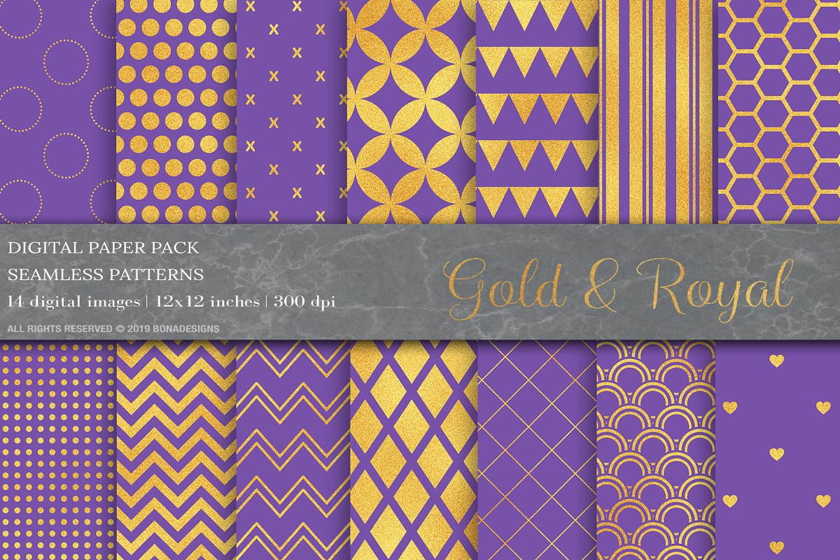 Gold Geometric Digital Papers