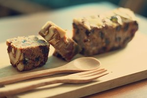 slide of fruit and nuts cake