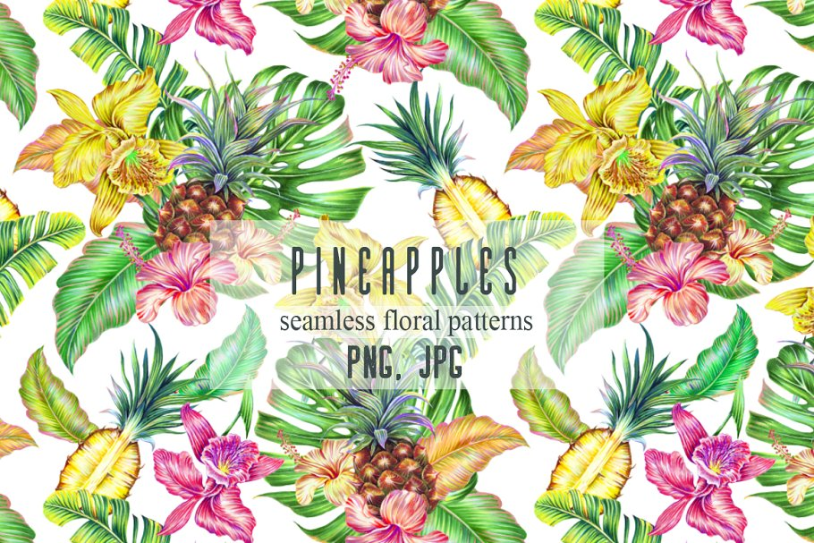 Pineapples tropical exotic patterns