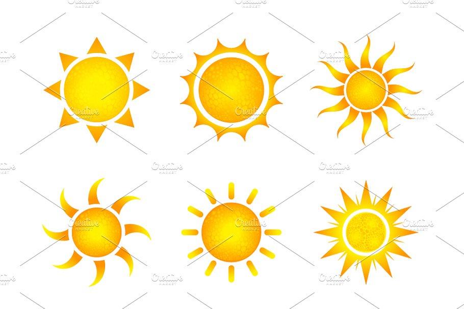 Nine different bright sun icons