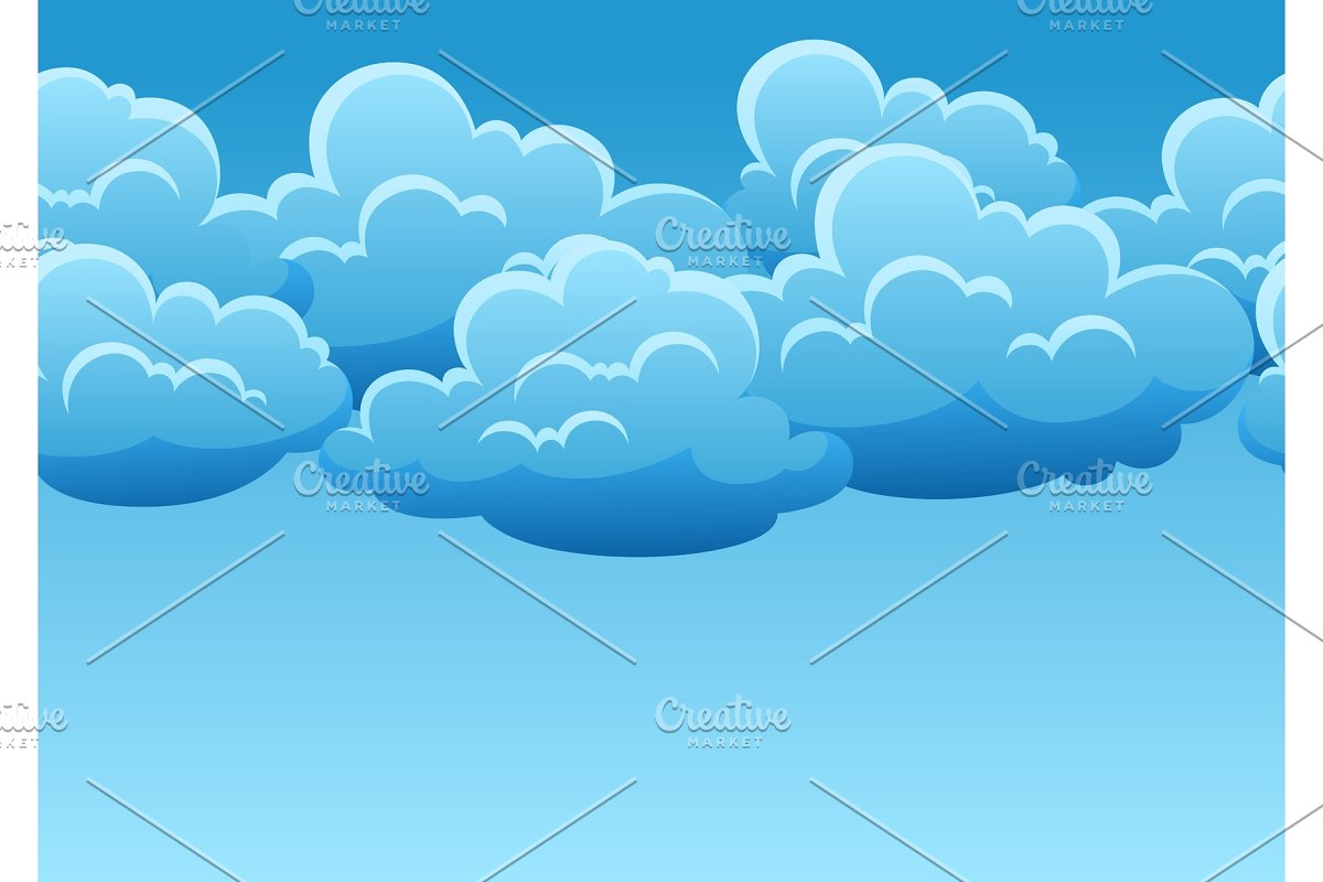 Seamless pattern with blue clouds.
