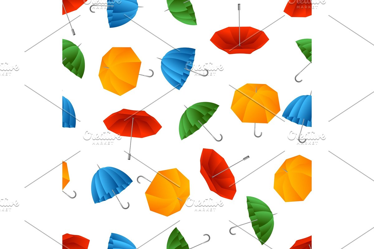 Seamless pattern with color umbrella