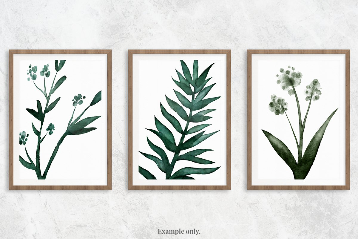 Watercolor Green Leaves | 30 Pc. Set