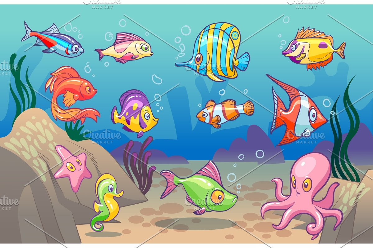 Underwater scene. Cute sea tropical