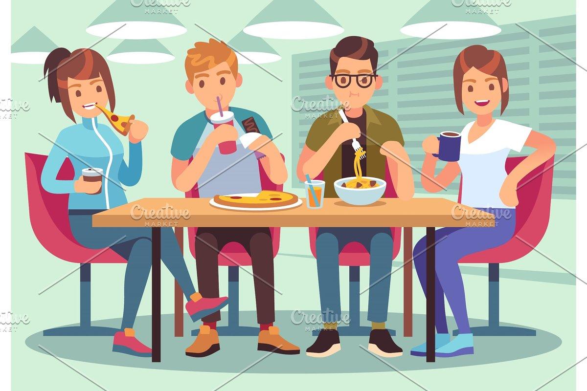 Friends cafe. Friendly people eat