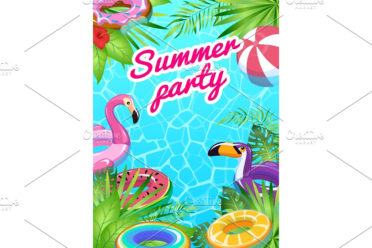 Pool party card. Swim summer
