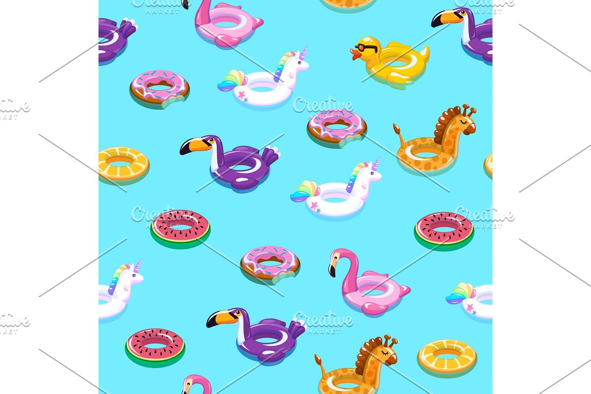 Swimming toys seamless pattern. Pool