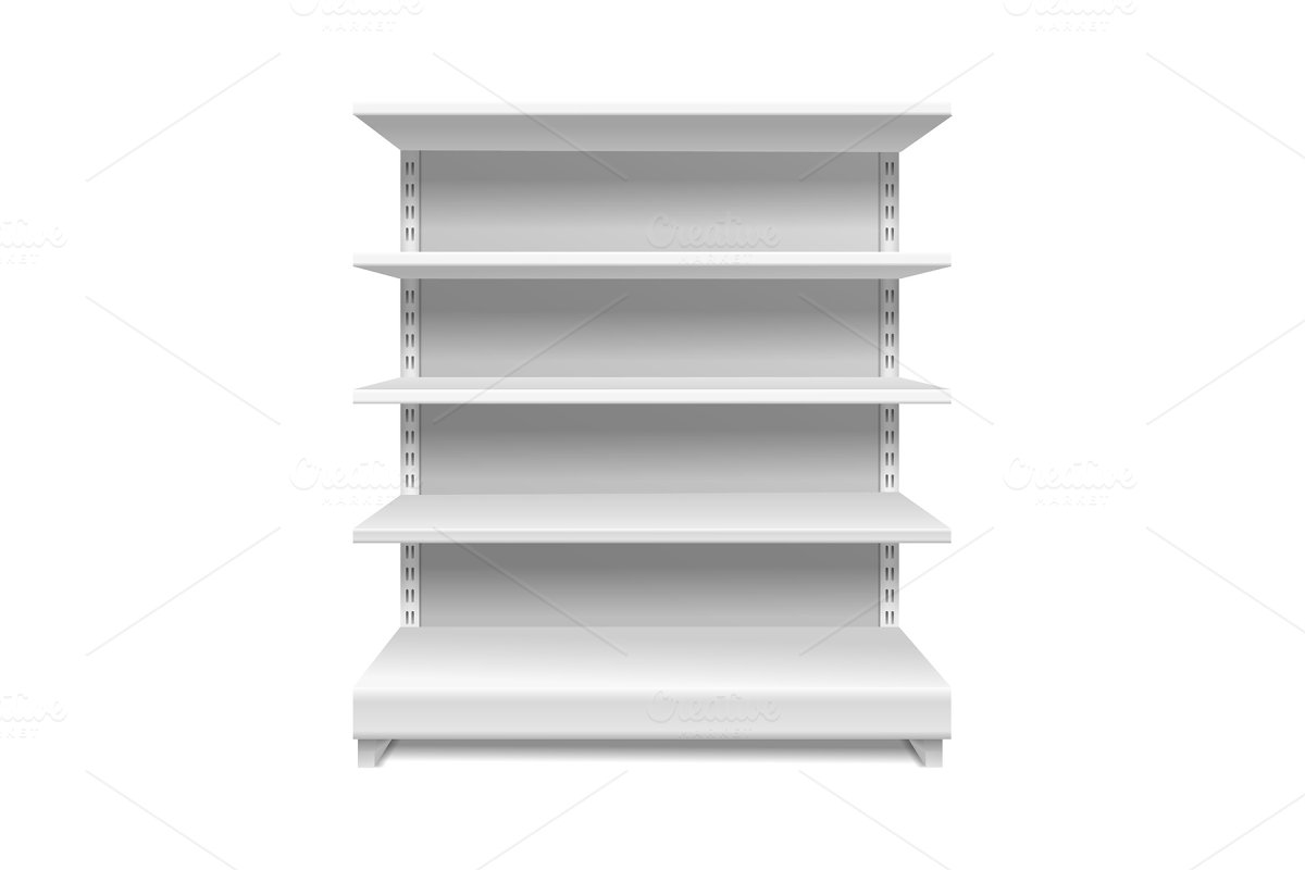 White supermarket shelves. Retail