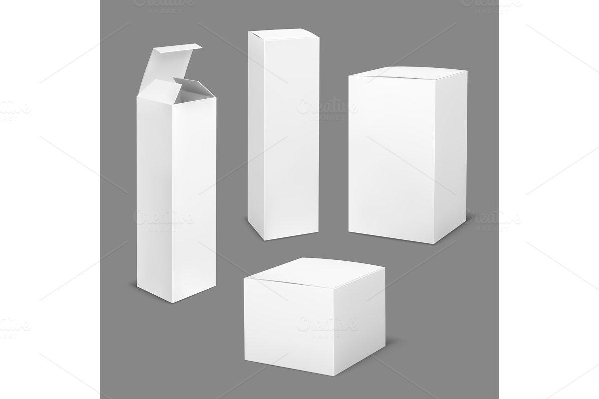 Empty white box. Cardboard cosmetic