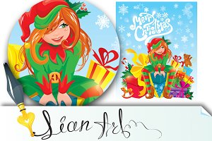 Elf with gifts, Merry Christmas card