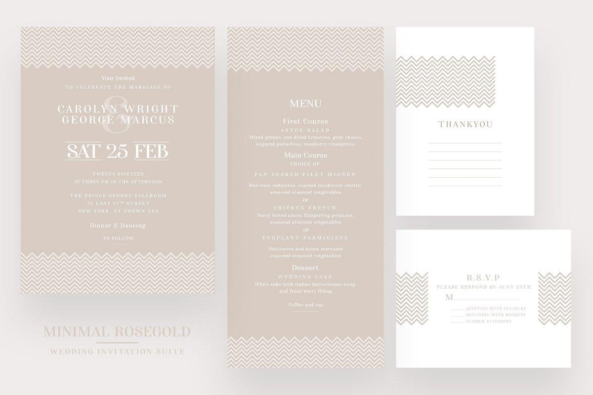 Minimal Rosegold Wedding Suite in Invitation Templates