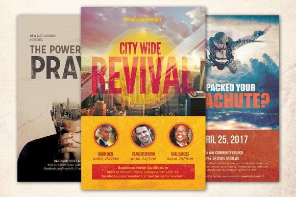 revival church flyer bundle flyer templates creative market