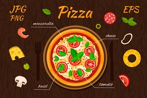 Vector pizza and ingredients