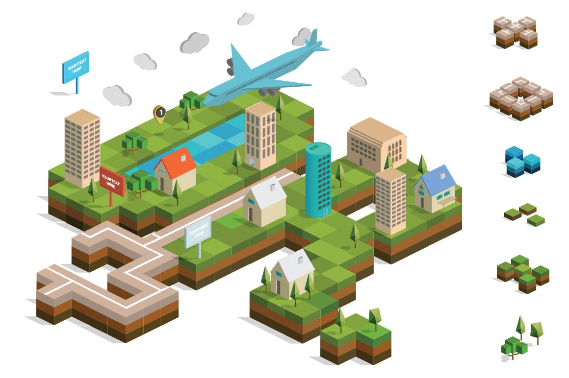 Isometric city map builder vector illustrations for 3d setup builder