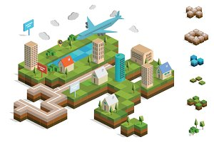 Isometric City Map Builder Vector