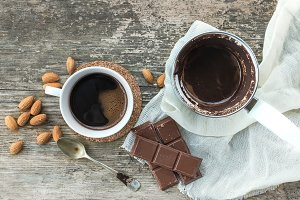 Cezve, coffee cup and chocolate