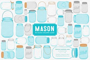 Tropical Blue Jar Vectors & Clipart