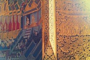 Drawing at Wat Pho's Wall