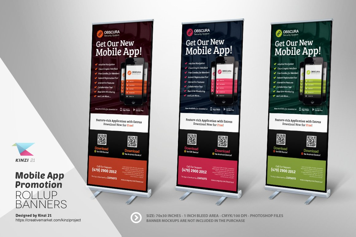 Mobile App Roll-up Banner Template ~ Flyer Templates ~ Creative Market