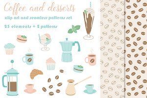 Coffee vector clipart and patterns