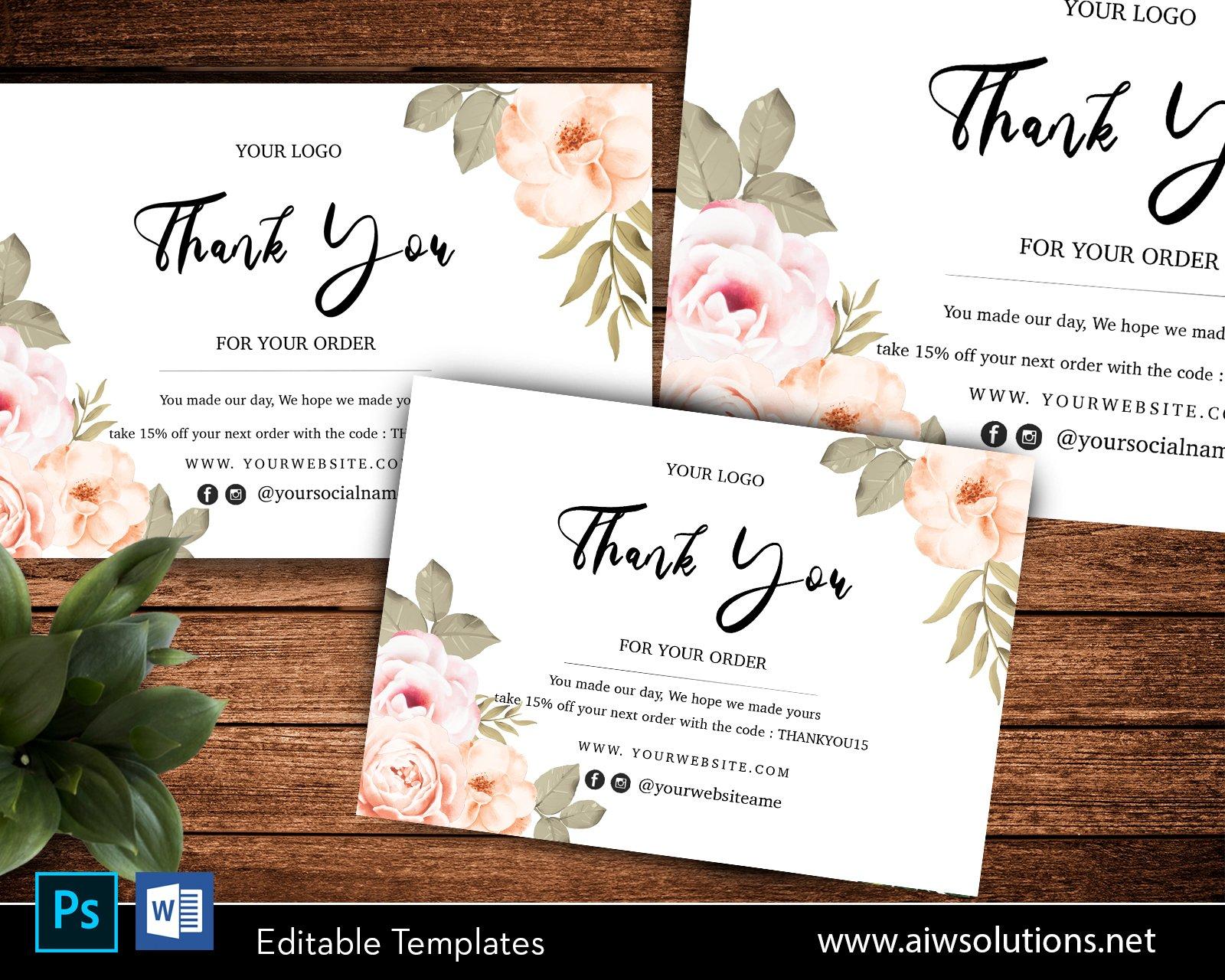 editable flower thank you card06  creative postcard