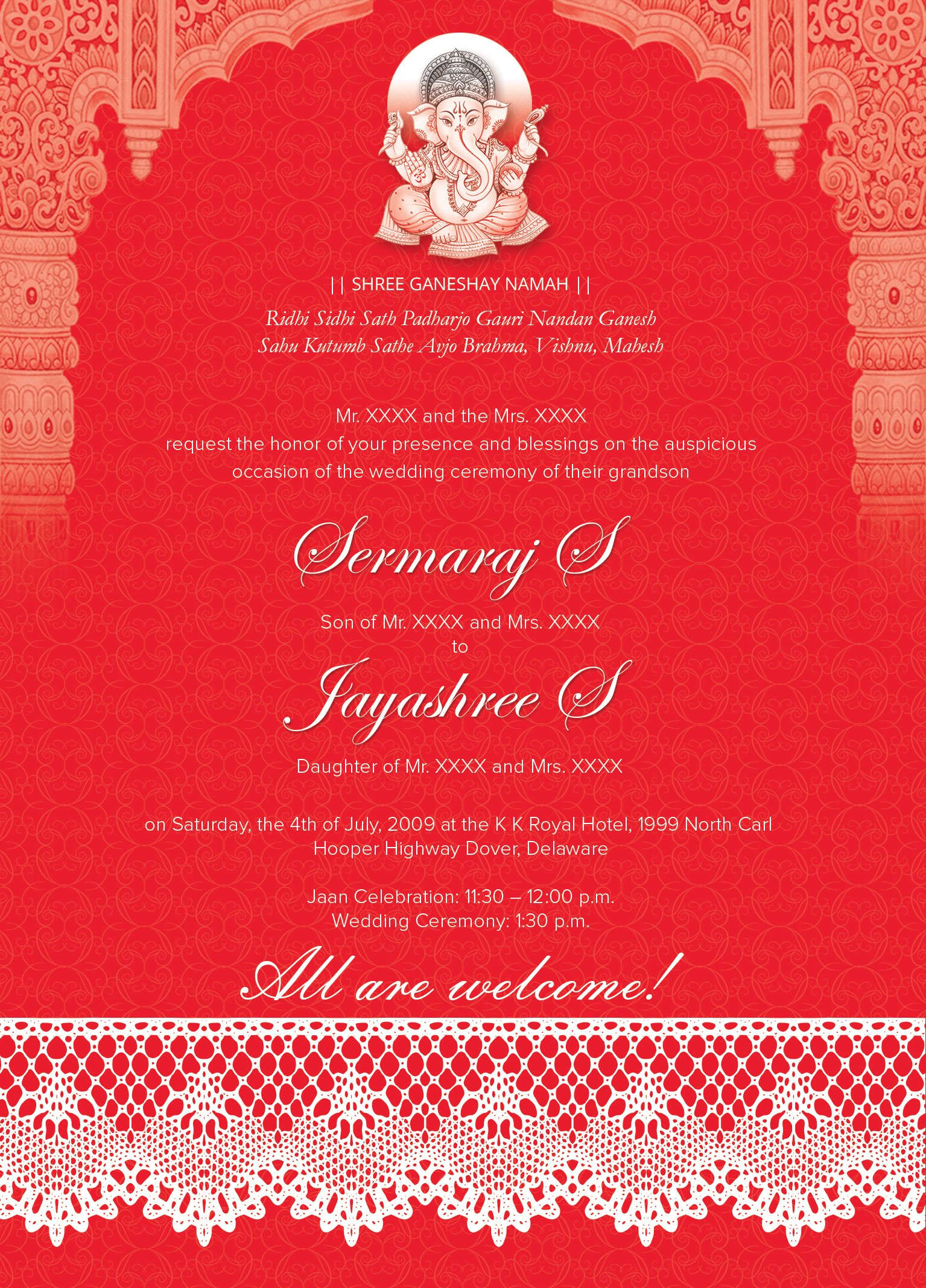 indian wedding card 01 3 colors invitation templates creative market - Indian Wedding Invitation