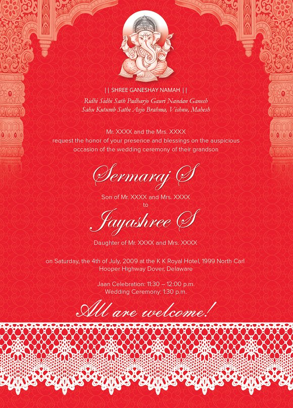 Indian Wedding Card 01 3 colors Invitation Templates – Indian Wedding Card Sample