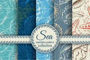 Sea shells seamless patterns