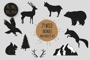 29 Wild Animals and  objects set