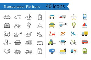 Transportation Flat Icons