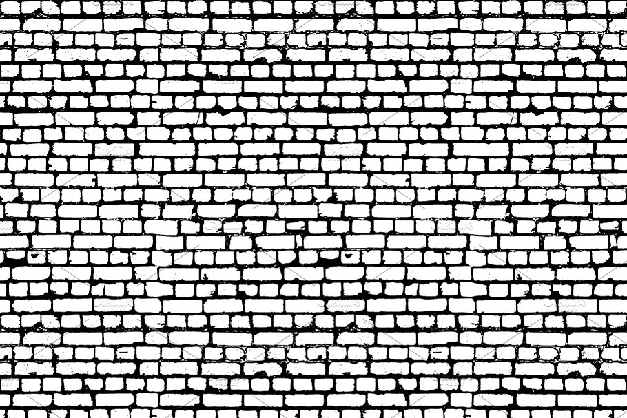 Black and white worn out brick wall