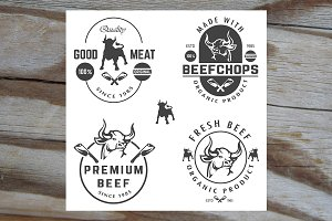 vector set of beef labels