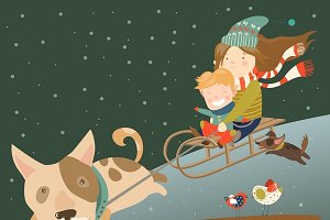 Вog pulling sledge with childrут