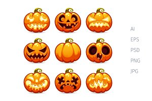 Halloween Cartoon Pumpkins Icons Set