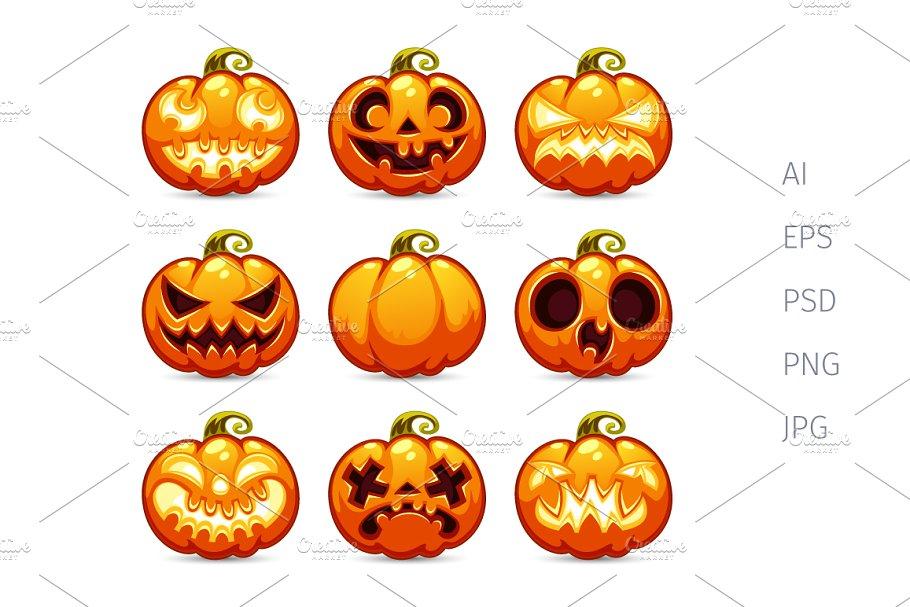 Halloween Pumpkin Cartoon Images.Halloween Cartoon Pumpkins Icons Set