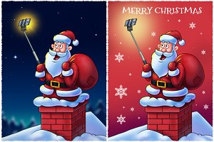 Santa Claus with Selfie Stick