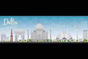 Delhi skyline with grey landmarks