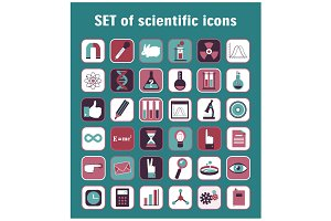 Set of 36 scientific icons