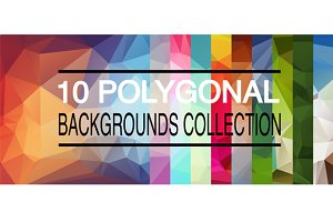 Ten vector polygonal backgrounds col