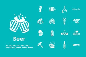16 beer simple icons