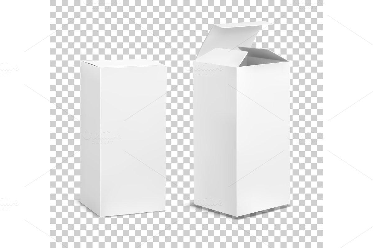 Empty tall box. Cardboard cosmetic