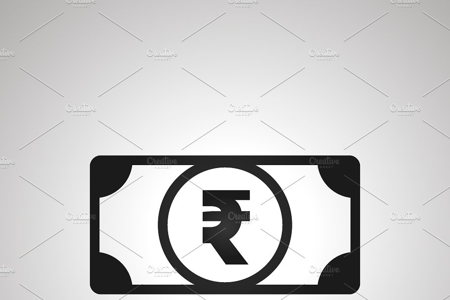 Banknote icon with indian rupee sign