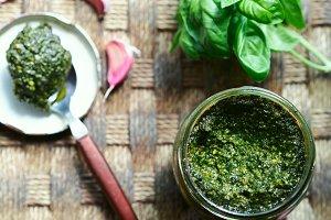 Pesto sauce still life