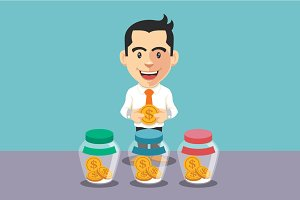 Businessman putting coin into jar