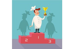 Chef winner. Vector flat illustratio