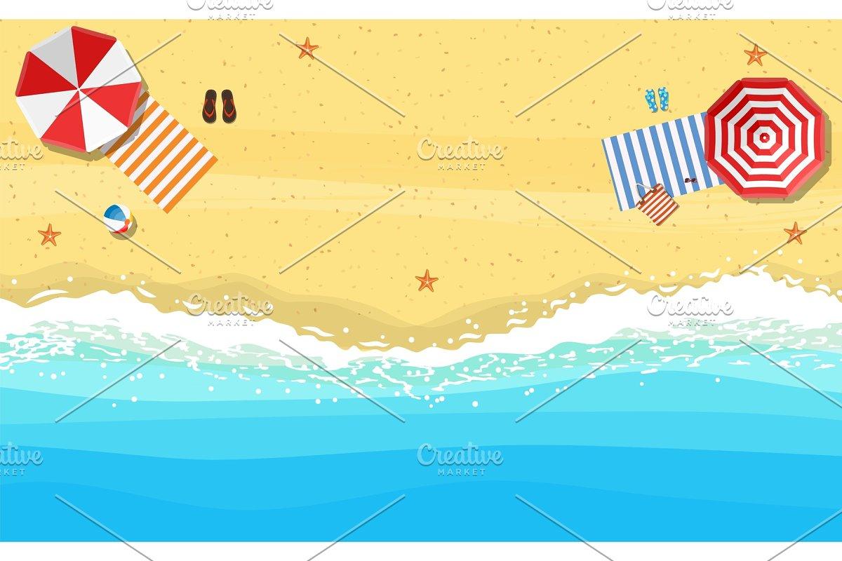 beach sun umbrellas flip-flops and