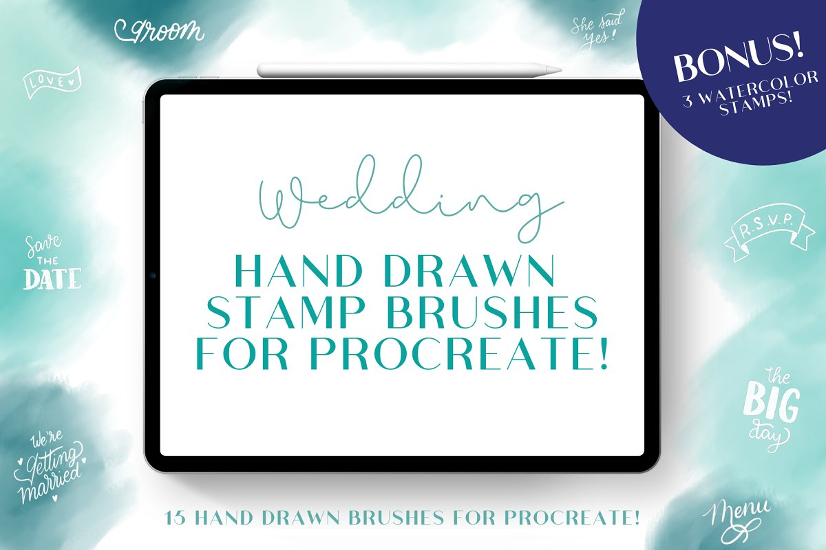Wedding Hand Drawn Procreate Stamps
