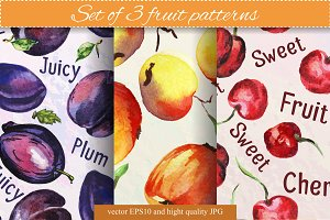 Set of 3 fruit patterns