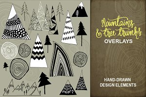 Mountains and Tree Trunks - Overlays